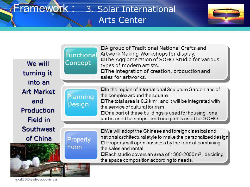 yxd55@yahoo.com.cn We will turning it into an Art Market Art MarketandProduction Field in Southwest Southwest of China Framework : 3. Solar Internatio