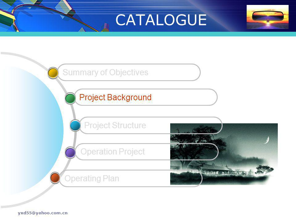 yxd55@yahoo.com.cn CATALOGUE Operating Plan Operation Project Project Structure Project Background Summary of Objectives
