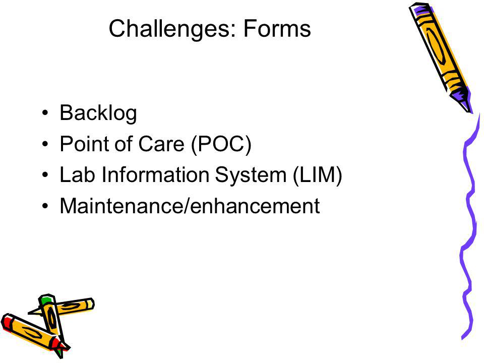 Challenges: Forms Backlog Point of Care (POC) Lab Information System (LIM) Maintenance/enhancement