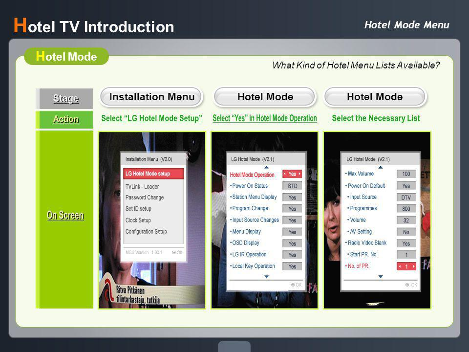 TVLink Loader / USB Cloning H otel TV Introduction No Hassle of Installation of each TV set Copy the Program Setting and Transfer to the rest of TV set Considerable Time-Saving USB Link-Loader TVLink-Loader This function works like TVLinkLoader Can update easily installation menu using USB storage