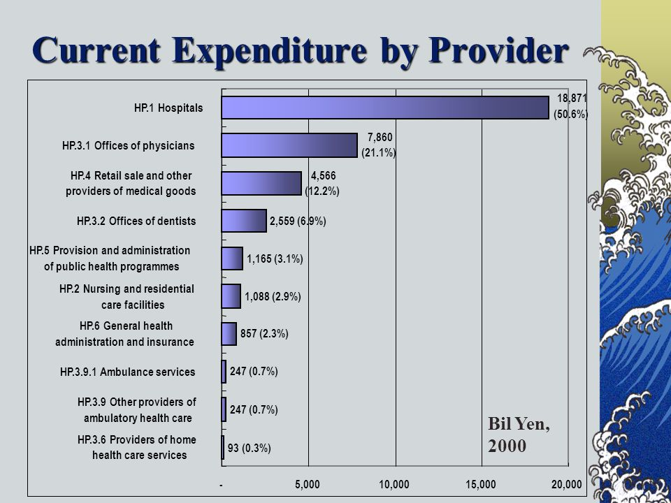 Current Expenditure by Provider 93 (0.3%) 247 (0.7%) 857 (2.3%) 1,088 (2.9%) 1,165 (3.1%) 2,559 (6.9%) 4,566 (12.2%) 7,860 (21.1%) 18,871 (50.6%) -5,00010,00015,00020,000 HP.3.6 Providers of home health care services HP.3.9 Other providers of ambulatory health care HP Ambulance services HP.6 General health administration and insurance HP.2 Nursing and residential care facilities HP.5 Provision and administration of public health programmes HP.3.2 Offices of dentists HP.4 Retail sale and other providers of medical goods HP.3.1 Offices of physicians HP.1 Hospitals Bil Yen, 2000