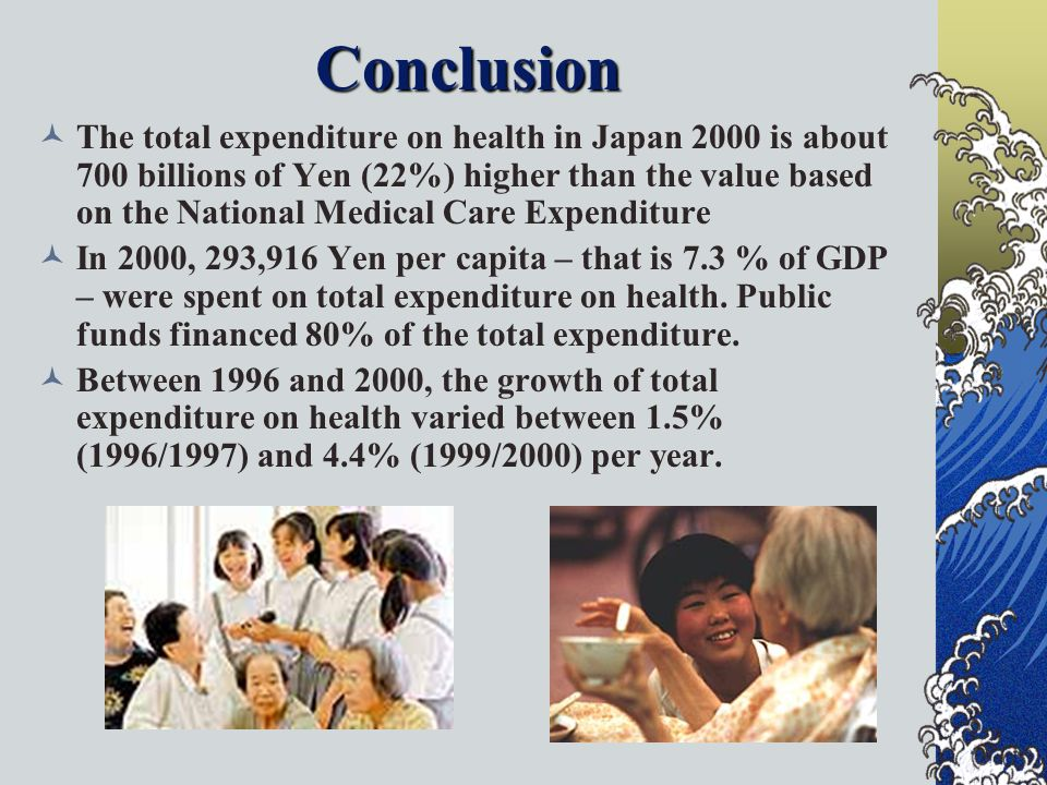 Conclusion The total expenditure on health in Japan 2000 is about 700 billions of Yen (22%) higher than the value based on the National Medical Care Expenditure In 2000, 293,916 Yen per capita – that is 7.3 % of GDP – were spent on total expenditure on health.