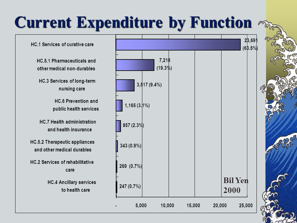 Current Expenditure by Function 247 (0.7%) 269 (0.7%) 343 (0.9%) 857 (2.3%) 1,165 (3.1%) 3,517 (9.4%) 7,216 (19.3%) 23,691 (63.5%) -5,00010,00015,00020,00025,000 HC.4 Ancillary services to health care HC.2 Services of rehabilitative care HC.5.2 Therapeutic appliances and other medical durables HC.7 Health administration and health insurance HC.6 Prevention and public health services HC.3 Services of long-term nursing care HC.5.1 Pharmaceuticals and other medical non-durables HC.1 Services of curative care Bil Yen 2000
