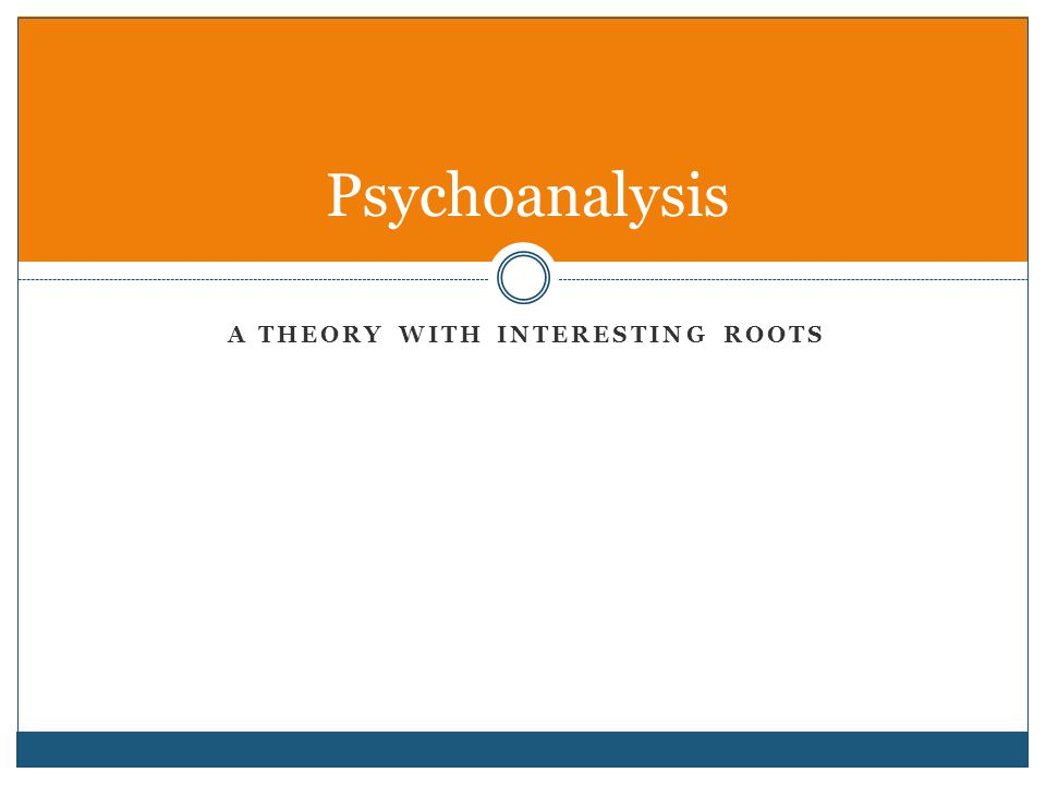 A THEORY WITH INTERESTING ROOTS Psychoanalysis