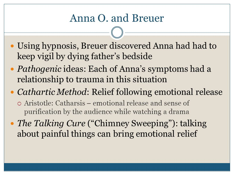 Anna O. and Breuer Using hypnosis, Breuer discovered Anna had had to keep vigil by dying fathers bedside Pathogenic ideas: Each of Annas symptoms had