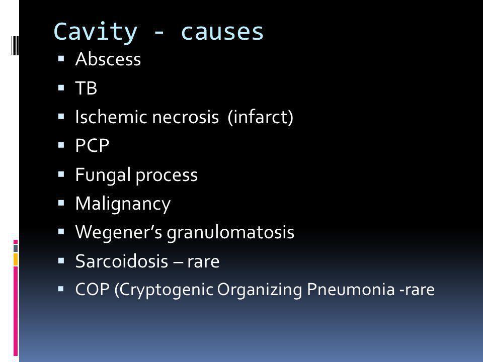 Cavity - causes Abscess TB Ischemic necrosis (infarct) PCP Fungal process Malignancy Wegeners granulomatosis Sarcoidosis – rare COP (Cryptogenic Organ
