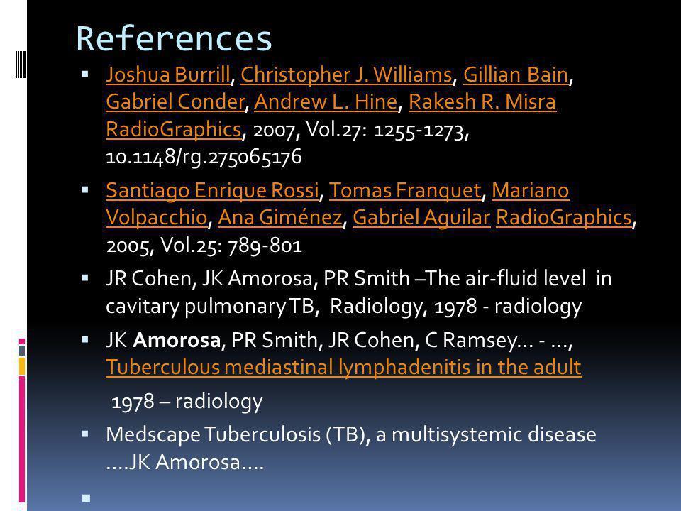 References Joshua Burrill, Christopher J. Williams, Gillian Bain, Gabriel Conder, Andrew L. Hine, Rakesh R. Misra RadioGraphics, 2007, Vol.27: 1255-12