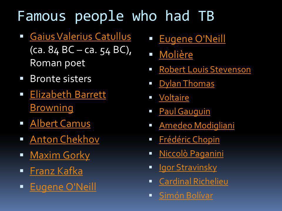 Famous people who had TB Gaius Valerius Catullus (ca. 84 BC – ca. 54 BC), Roman poet Gaius Valerius Catullus Bronte sisters Elizabeth Barrett Browning