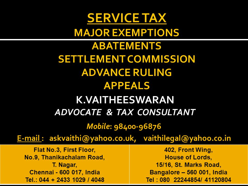 Nature of Service Status of Service ProviderPercentage of Service Tax Payable by Service ProviderService Receiver Supply of manpower for any purpose or security services Individual / HUF / Partnership Firm whether registered or not, including AOP located in the taxable territory to a business entity registered as a corporate located in the taxable territory.