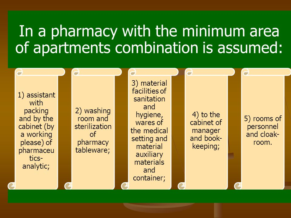 In a pharmacy with the minimum area of apartments combination is assumed: 1) assistant with packing and by the cabinet (by a working please) of pharmaceu tics- analytic; 2) washing room and sterilization of pharmacy tableware; 3) material facilities of sanitation and hygiene, wares of the medical setting and material auxiliary materials and container; 4) to the cabinet of manager and book- keeping; 5) rooms of personnel and cloak- room.