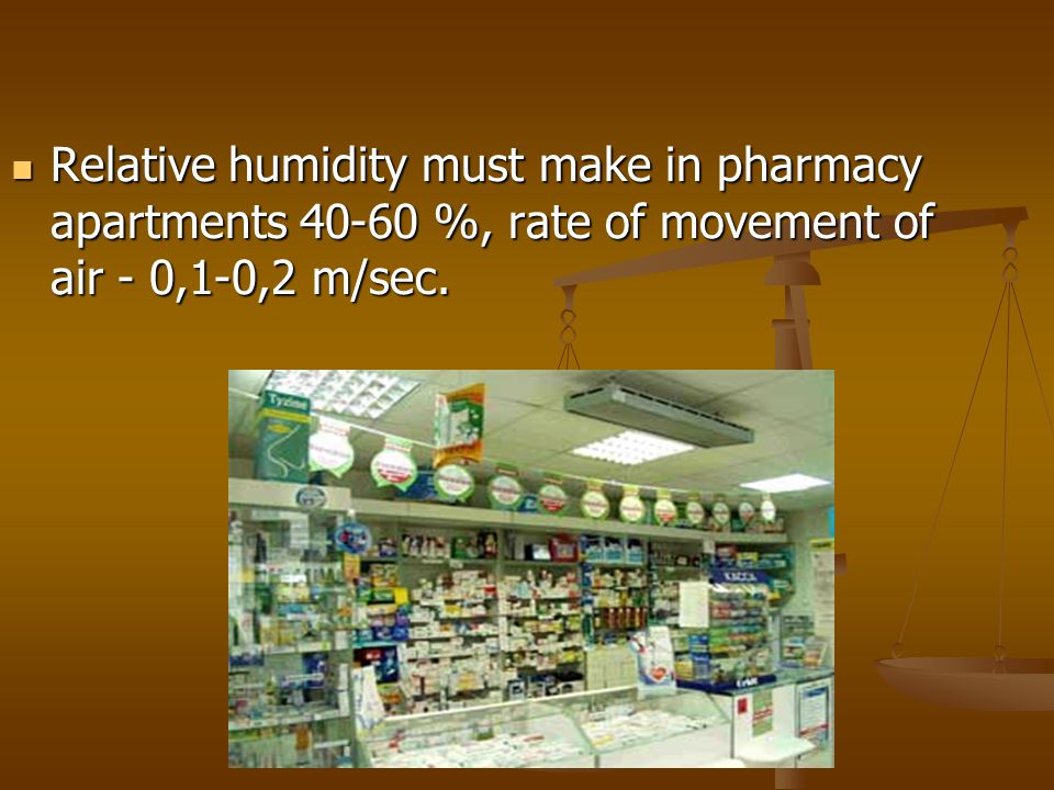 Relative humidity must make in pharmacy apartments 40-60 %, rate of movement of air - 0,1-0,2 m/sec.