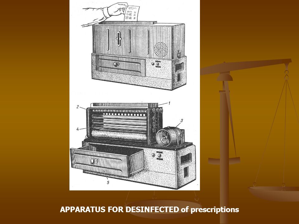 APPARATUS FOR DESINFECTED of prescriptions