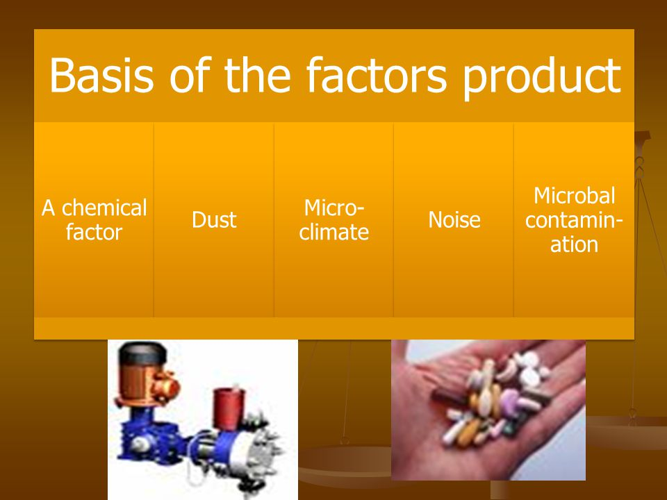 Basis of the factors product A chemical factor Dust Micro- climate Noise Microbal contamin- ation