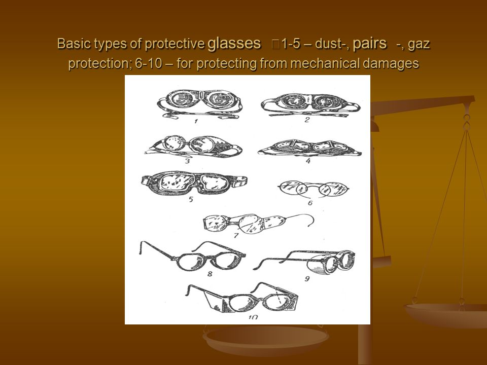 Basic types of protective glasses 1-5 – dust-, pairs -, gaz protection; 6-10 – for protecting from mechanical damages