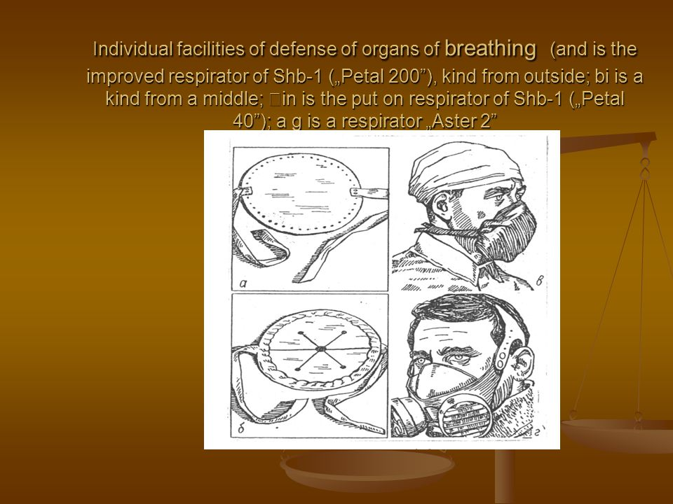 Individual facilities of defense of organs of breathing (and is the improved respirator of Shb-1 (Petal 200), kind from outside; bi is a kind from a m