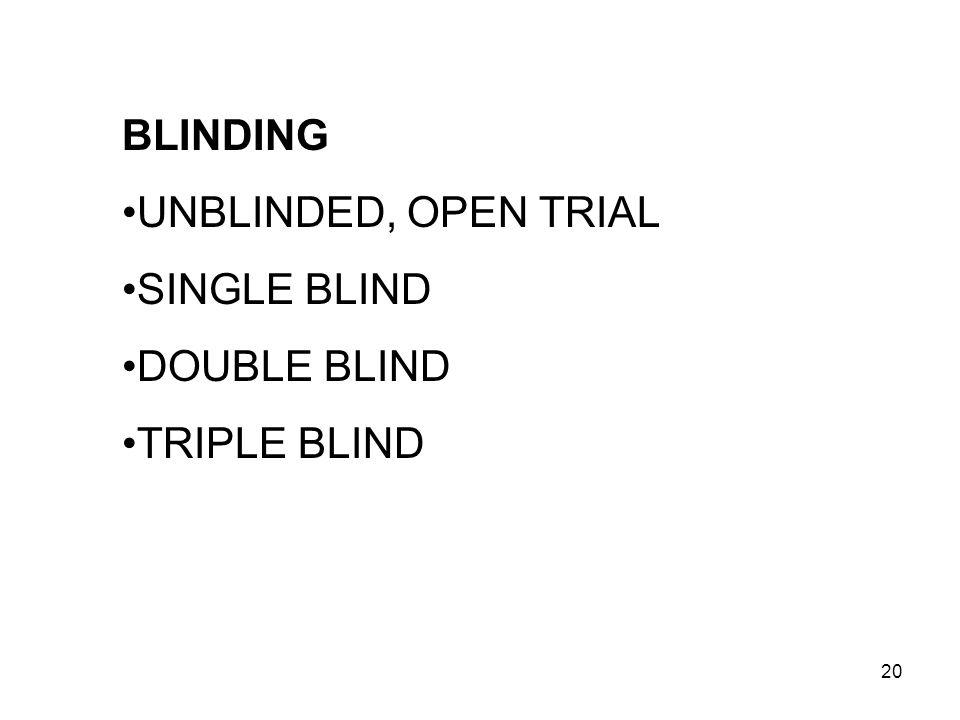 20 BLINDING UNBLINDED, OPEN TRIAL SINGLE BLIND DOUBLE BLIND TRIPLE BLIND