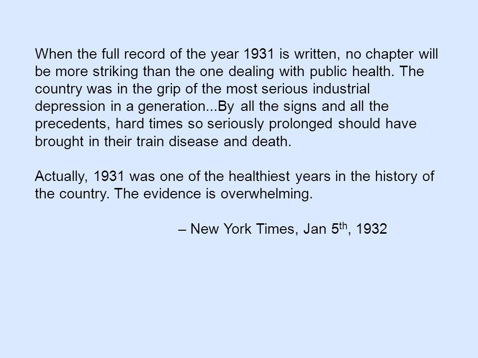 When the full record of the year 1931 is written, no chapter will be more striking than the one dealing with public health.