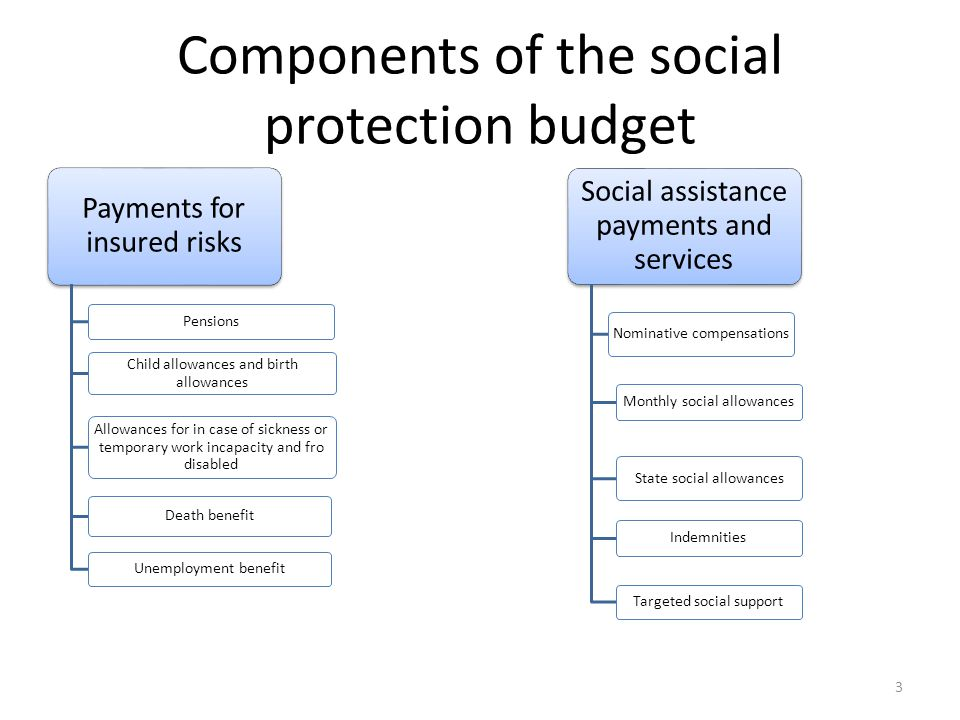 Components of the social protection budget Payments for insured risks Pensions Child allowances and birth allowances Allowances for in case of sickness or temporary work incapacity and fro disabled Death benefit Unemployment benefit Social assistance payments and services Nominative compensations Monthly social allowances State social allowances Indemnities Targeted social support 3