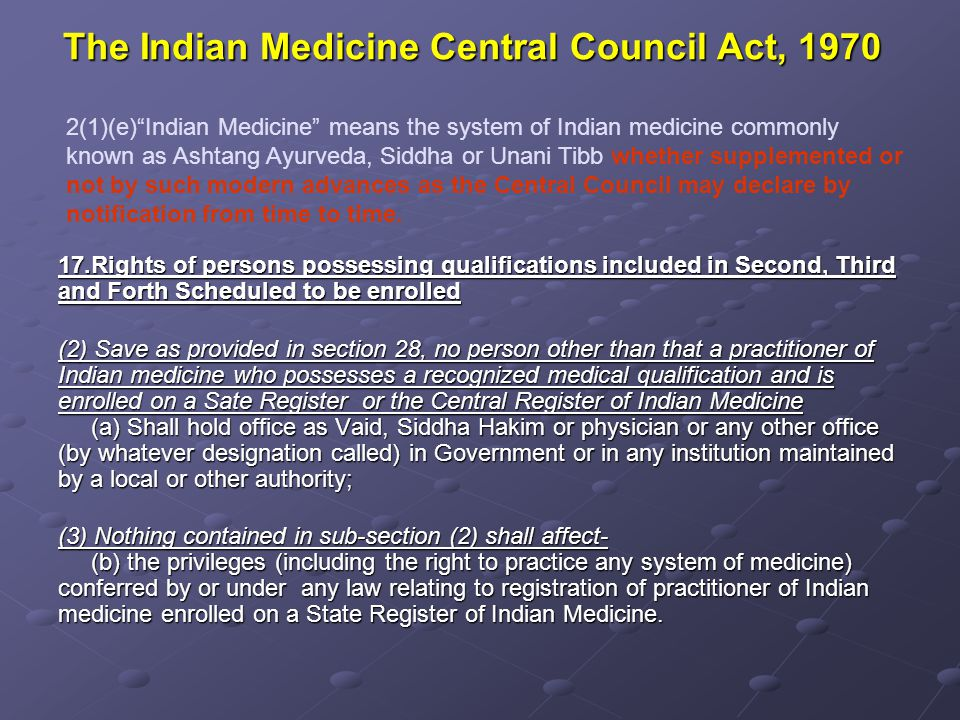 The Tamilnadu Siddha System of Medicine 1997 Registration of Practitioners: 18.