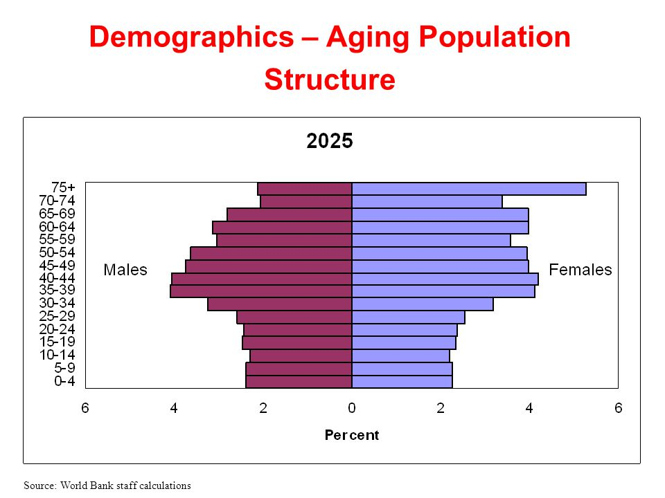 Demographics – Aging Population Structure Source: World Bank staff calculations
