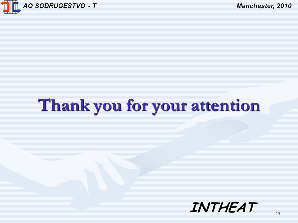 AO SODRUGESTVO - TManchester, 2010 INTHEAT 25 Thank you for your attention