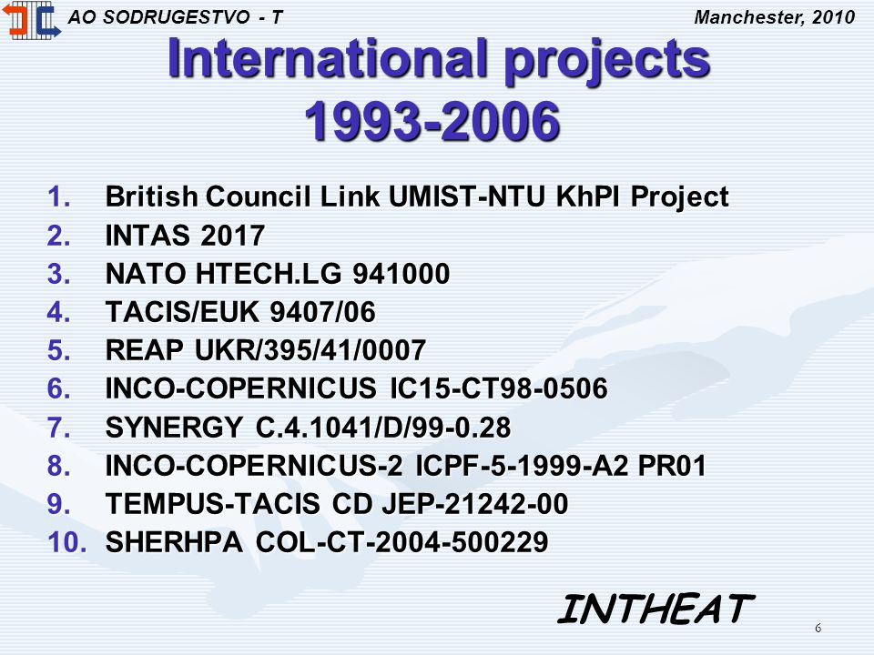 AO SODRUGESTVO - TManchester, 2010 INTHEAT 6 International projects 1993-2006 International projects 1993-2006 1.British Council Link UMIST-NTU KhPI Project 2.INTAS 2017 3.NATO HTECH.LG 941000 4.TACIS/EUK 9407/06 5.REAP UKR/395/41/0007 6.INCO-COPERNICUS IC15-CT98-0506 7.SYNERGY C.4.1041/D/99-0.28 8.INCO-COPERNICUS-2 ICPF-5-1999-A2 PR01 9.TEMPUS-TACIS CD JEP-21242-00 10.SHERHPA COL-CT-2004-500229