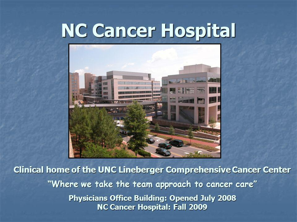 NC Cancer Hospital Clinical home of the UNC Lineberger Comprehensive Cancer Center Where we take the team approach to cancer care Physicians Office Building: Opened July 2008 NC Cancer Hospital: Fall 2009