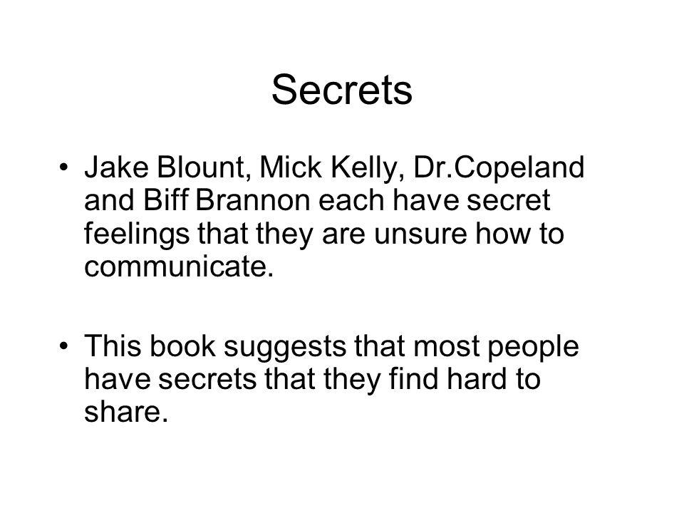 Secrets Jake Blount, Mick Kelly, Dr.Copeland and Biff Brannon each have secret feelings that they are unsure how to communicate.
