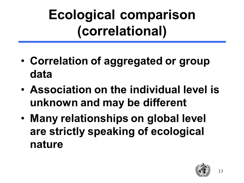 13 Ecological comparison (correlational) Correlation of aggregated or group data Association on the individual level is unknown and may be different M