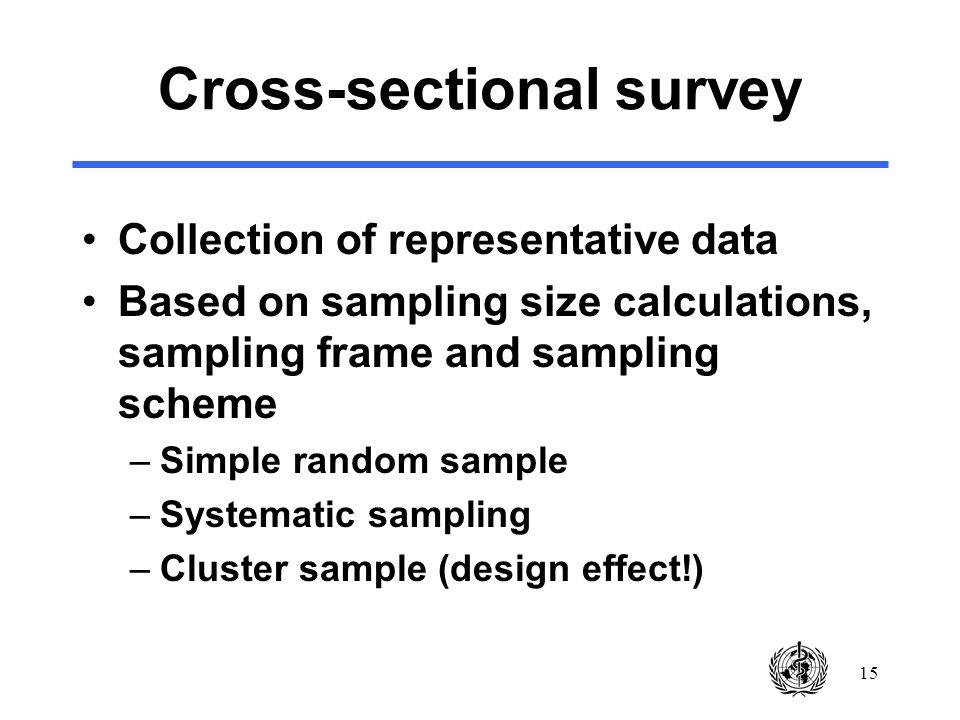 15 Cross-sectional survey Collection of representative data Based on sampling size calculations, sampling frame and sampling scheme –Simple random sample –Systematic sampling –Cluster sample (design effect!)