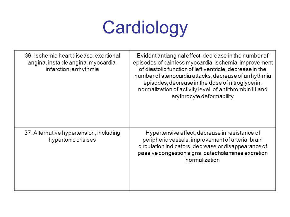 Cardiology 36. Ischemic heart disease: exertional angina, instable angina, myocardial infarction, arrhythmia Evident antianginal effect, decrease in t