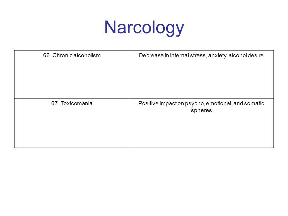 Narcology 66. Chronic alcoholismDecrease in internal stress, anxiety, alcohol desire 67.