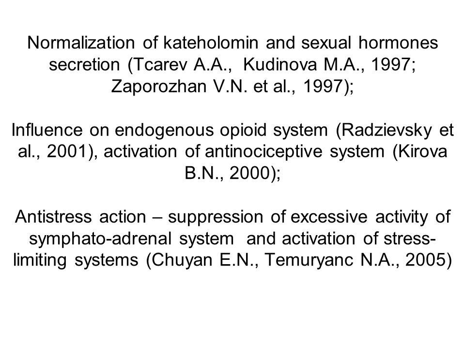 Normalization of kateholomin and sexual hormones secretion (Tcarev A.A., Kudinova M.A., 1997; Zaporozhan V.N.
