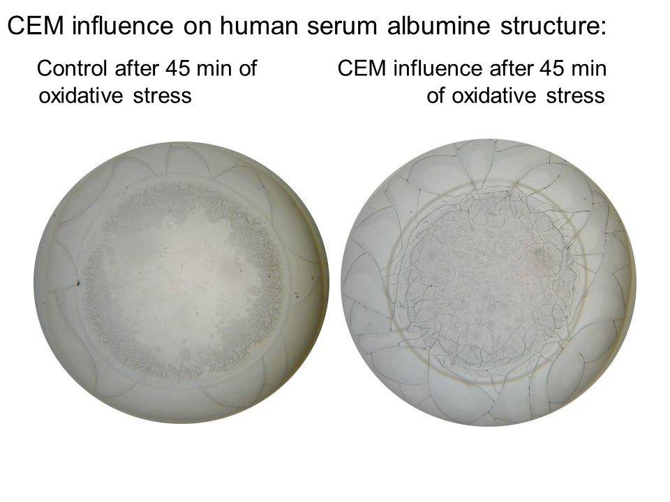 CEM influence on human serum albumine structure: Сontrol after 45 min of CEM influence after 45 min oxidative stress of oxidative stress