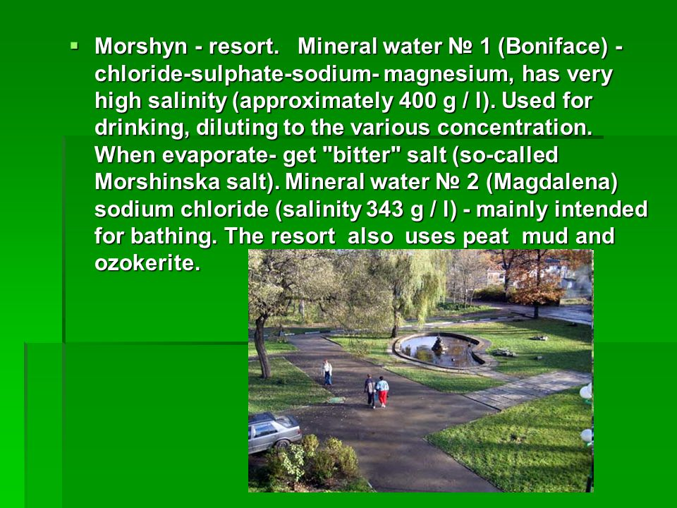 Morshyn - resort. Mineral water 1 (Boniface) - chloride-sulphate-sodium- magnesium, has very high salinity (approximately 400 g / l). Used for drinkin