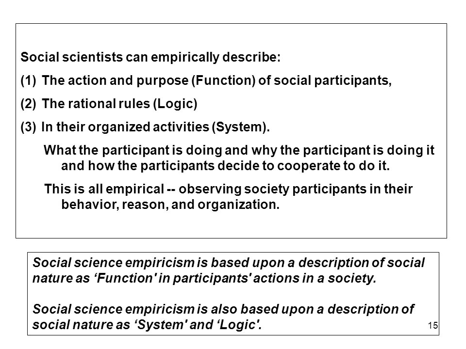 15 Social scientists can empirically describe: (1) The action and purpose (Function) of social participants, (2) The rational rules (Logic) (3) In their organized activities (System).