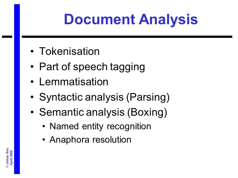 © Johan Bos April 2008 Document Analysis Tokenisation Part of speech tagging Lemmatisation Syntactic analysis (Parsing) Semantic analysis (Boxing) Nam