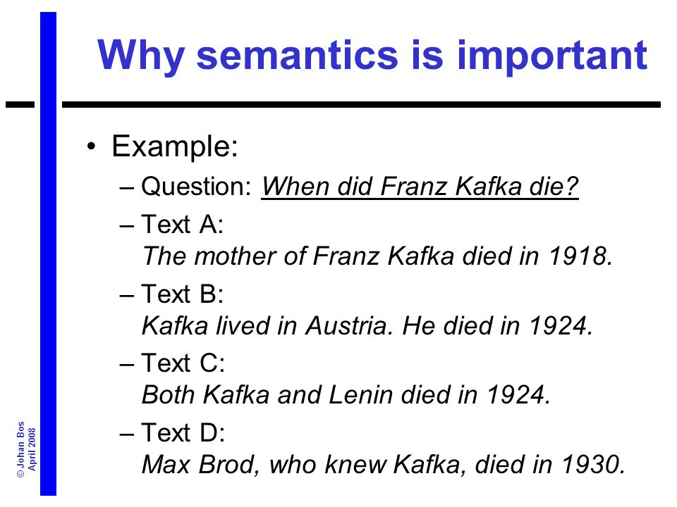 © Johan Bos April 2008 Why semantics is important Example: –Question: When did Franz Kafka die? –Text A: The mother of Franz Kafka died in 1918. –Text