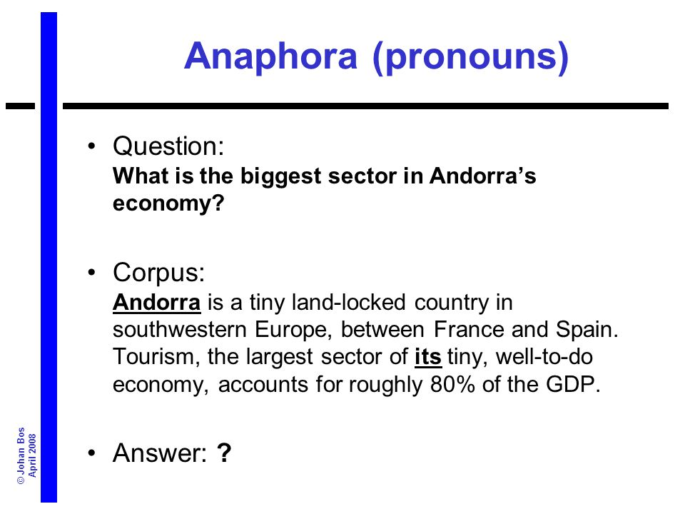© Johan Bos April 2008 Anaphora (pronouns) Question: What is the biggest sector in Andorras economy? Corpus: Andorra is a tiny land-locked country in