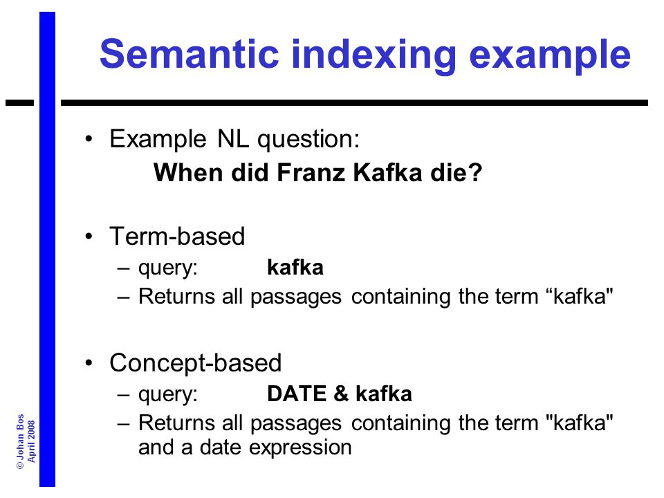 © Johan Bos April 2008 Semantic indexing example Example NL question: When did Franz Kafka die? Term-based –query: kafka –Returns all passages contain