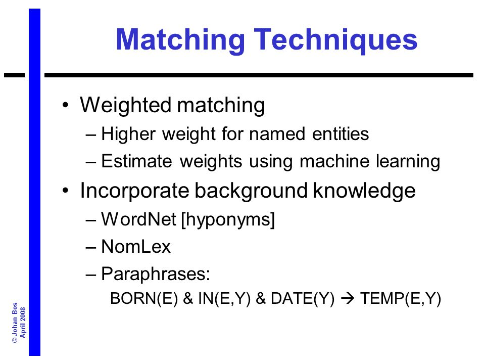 © Johan Bos April 2008 Matching Techniques Weighted matching –Higher weight for named entities –Estimate weights using machine learning Incorporate ba