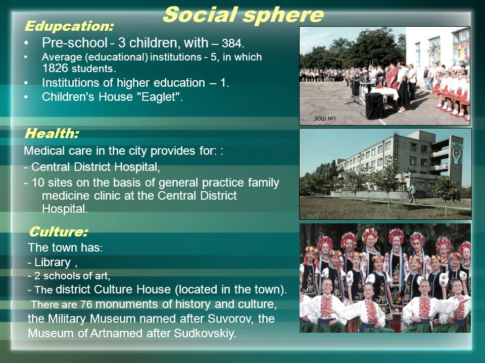 Social sphere Edupcation: Pre-school - 3 children, with – 384.