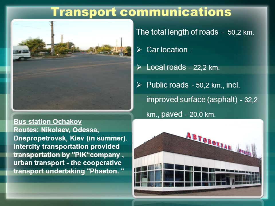 Transport communications The total length of roads - 50,2 km.