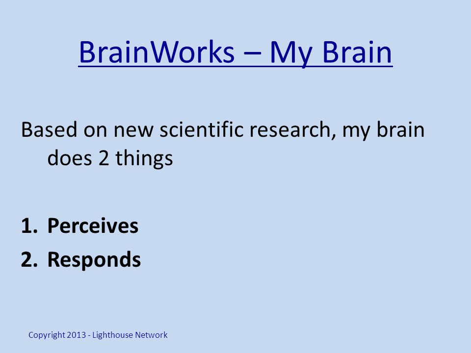 BrainWorks – My Brain Based on new scientific research, my brain does 2 things 1.Perceives 2.Responds Copyright 2013 - Lighthouse Network