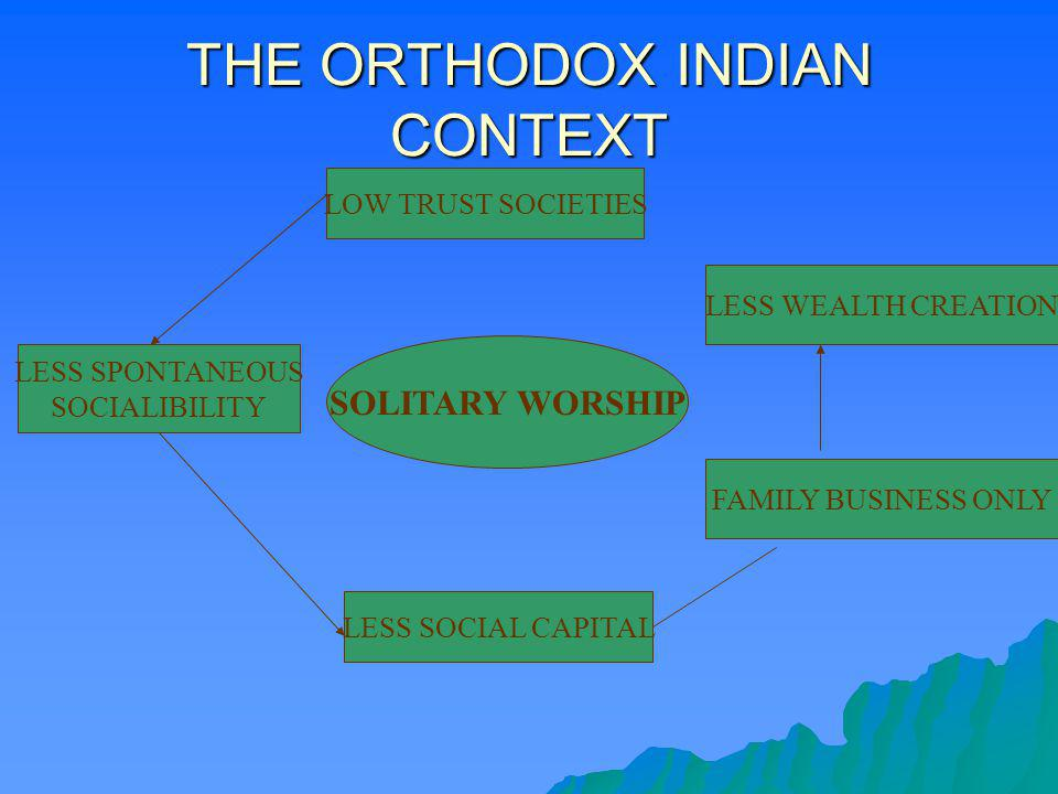 THE ORTHODOX INDIAN CONTEXT SOLITARY WORSHIP LOW TRUST SOCIETIES LESS SPONTANEOUS SOCIALIBILITY LESS SOCIAL CAPITAL FAMILY BUSINESS ONLY LESS WEALTH C