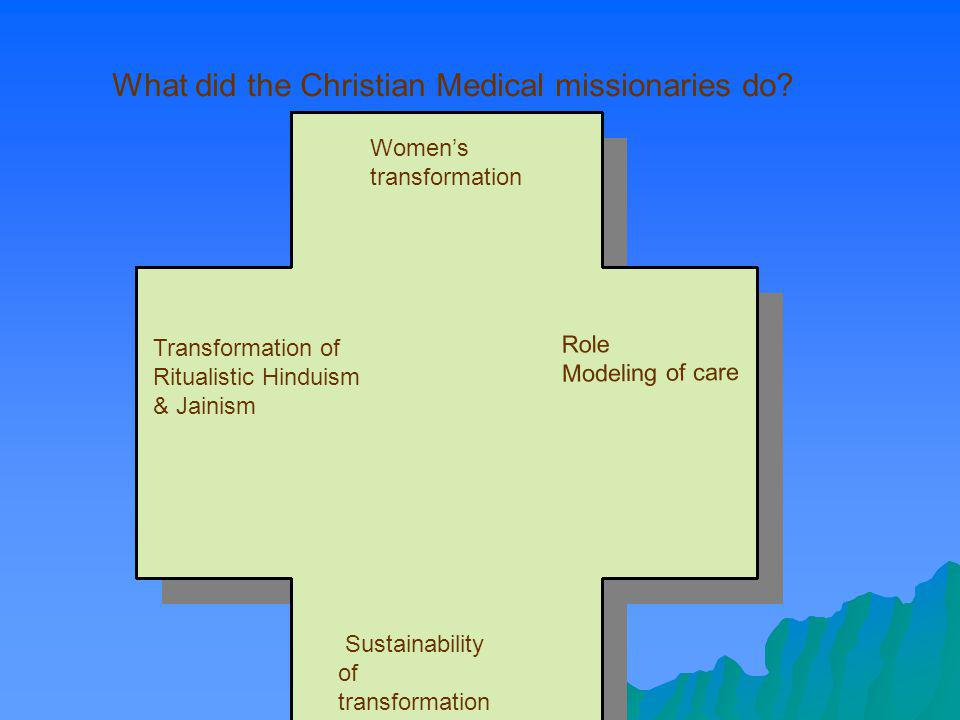 Womens transformation Transformation of Ritualistic Hinduism & Jainism Role Modeling of care Sustainability of transformation What did the Christian M