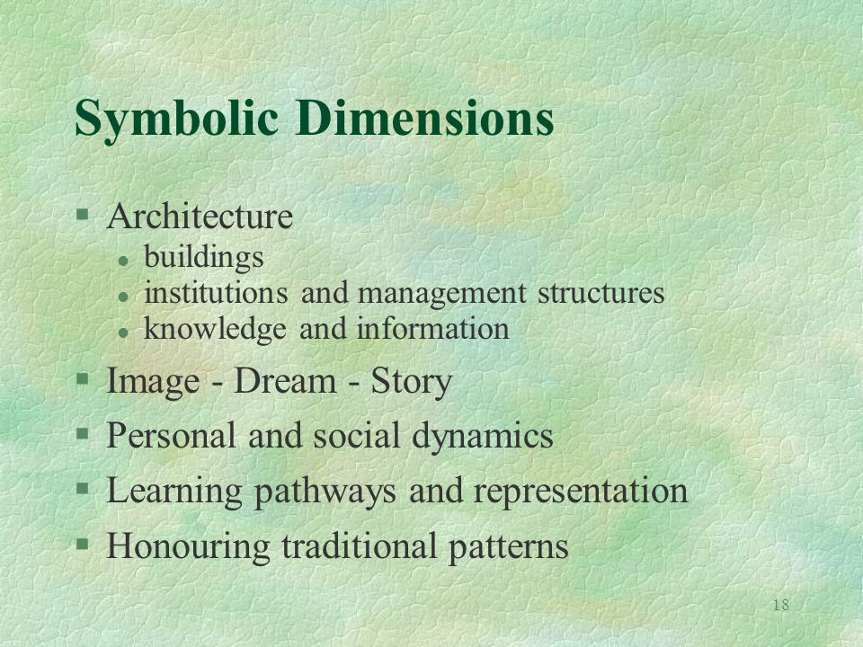 18 Symbolic Dimensions §Architecture l buildings l institutions and management structures l knowledge and information §Image - Dream - Story §Personal