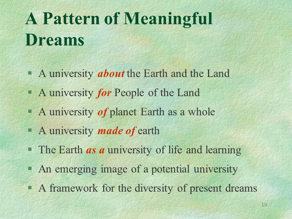 19 A Pattern of Meaningful Dreams §A university about the Earth and the Land §A university for People of the Land §A university of planet Earth as a whole §A university made of earth §The Earth as a university of life and learning §An emerging image of a potential university §A framework for the diversity of present dreams