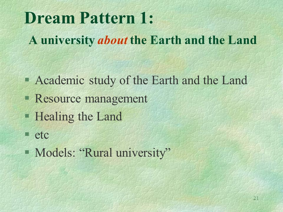 21 Dream Pattern 1: A university about the Earth and the Land §Academic study of the Earth and the Land §Resource management §Healing the Land §etc §Models: Rural university