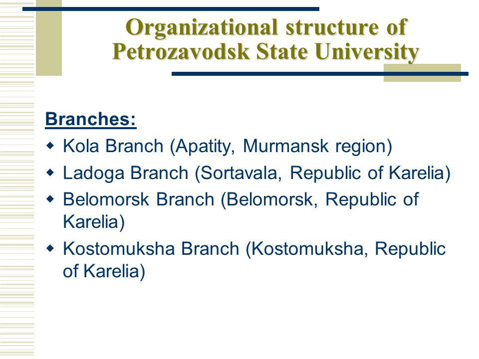 Organizational structure of Petrozavodsk State University Branches: Kola Branch (Apatity, Murmansk region) Ladoga Branch (Sortavala, Republic of Karelia) Belomorsk Branch (Belomorsk, Republic of Karelia) Kostomuksha Branch (Kostomuksha, Republic of Karelia)